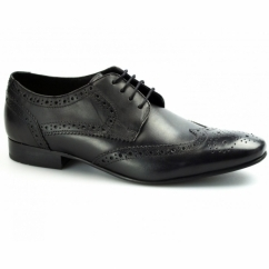 RITCHIE Mens Leather Lace Up Brogue Shoes Black