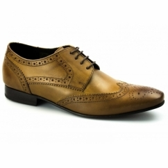 RITCHIE Mens Leather Lace Up Brogue Shoes Tan