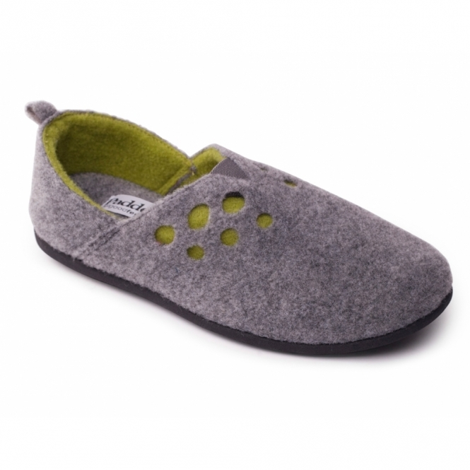 Padders RIVA Ladies Felt Wide Fit Slippers Grey