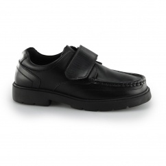 ALBERT Boys Leather Touch Fasten Shoes Black