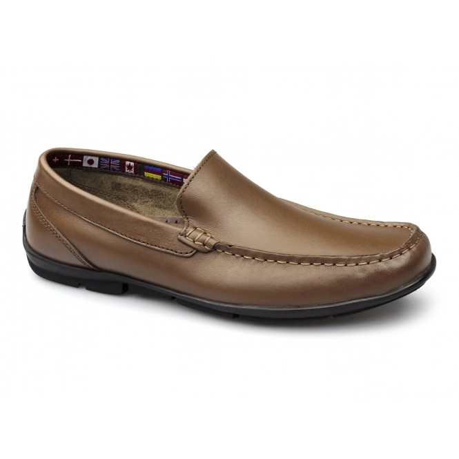 Roamers AUBREY Mens Leather Moccasin Driving Loafers Tan