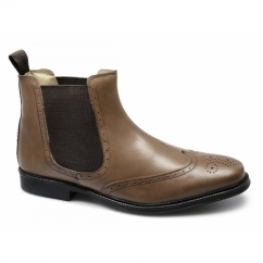 BENJAMIN Mens Leather Brogue Chelsea Boots Tan