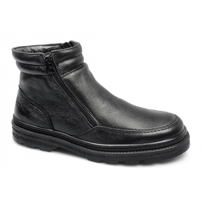 CALLUM Mens Twin Zip Leather Warm Ankle Boots Black