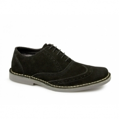 COLE Mens Suede Leather Brogue Shoes Black
