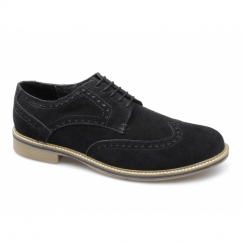 GODFREY Mens Suede Lace Up Brogue Shoes Black