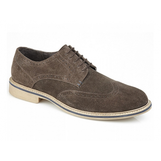 Roamers GODFREY Mens Suede Lace Up Brogue Shoes Brown