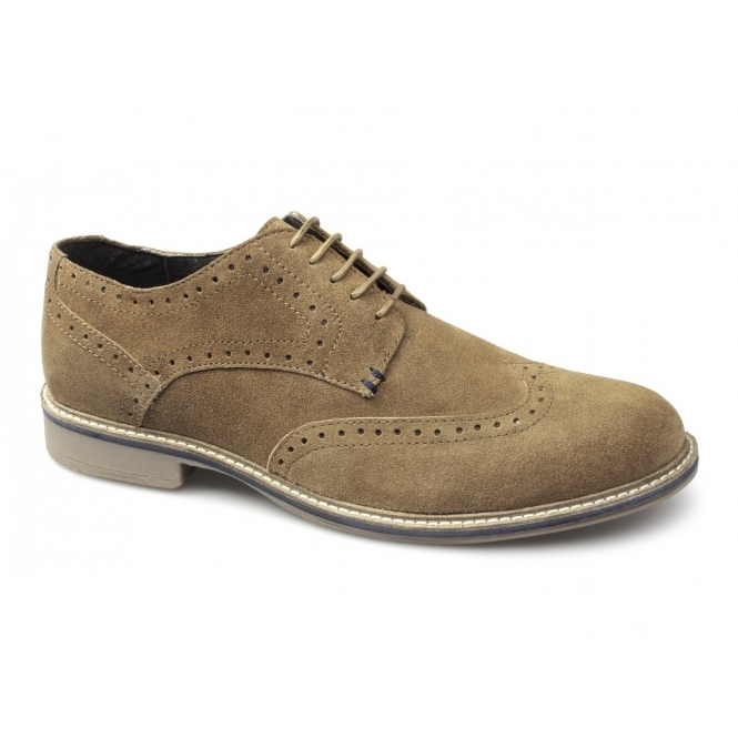 Roamers GODFREY Mens Suede Lace Up Brogue Shoes Sand