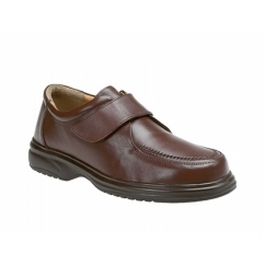 JADEN Mens Leather Wide E Fit Velcro Shoes Brown