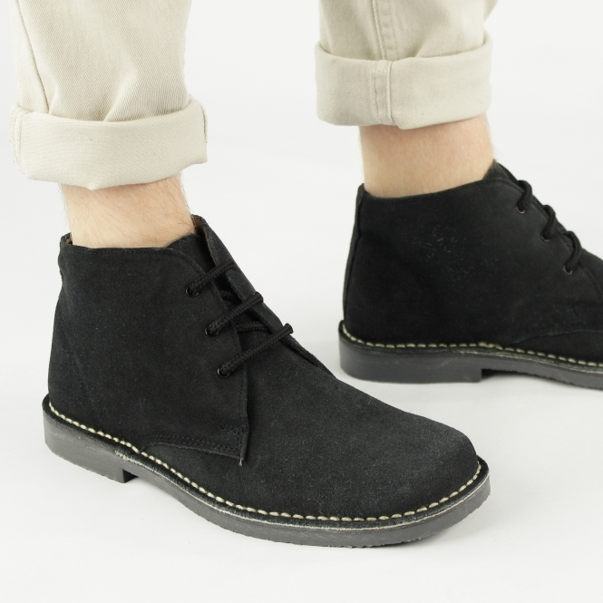 Roamers LEONARD Mens Square Toe Suede Leather Desert Boots Black