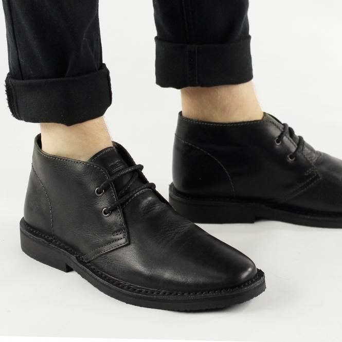 roamers maynard mens leather desert boots black buy at
