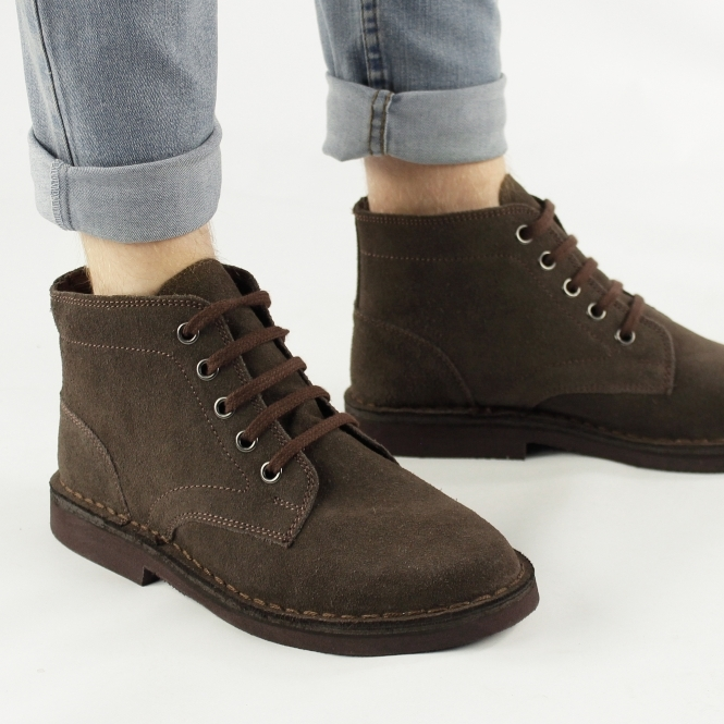 Roamers Mens 5 Eyelet Suede Leather Desert Boots Dark Brown
