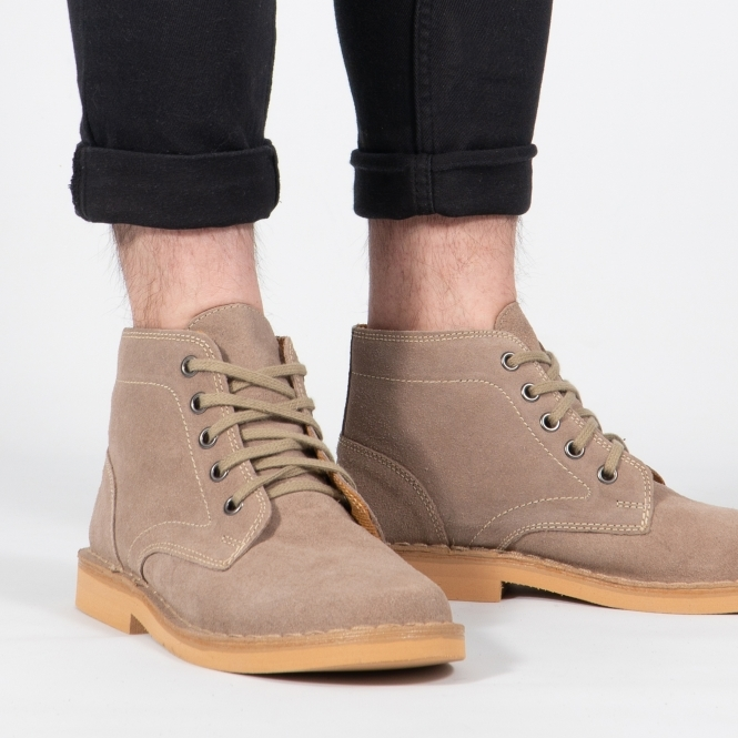 Suede Lace Up Desert Boots Taupe