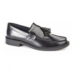 RUDEBOYZ Mens Polished Leather Tassel Loafers Black