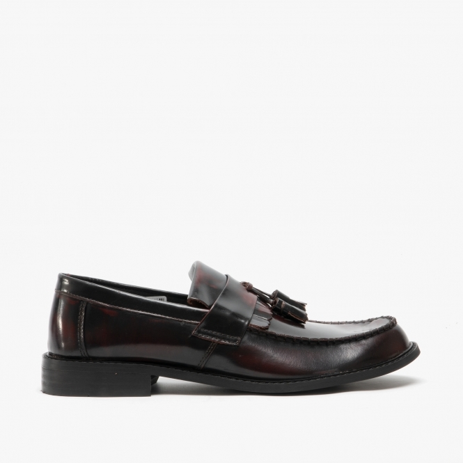 mens black leather tassel loafers