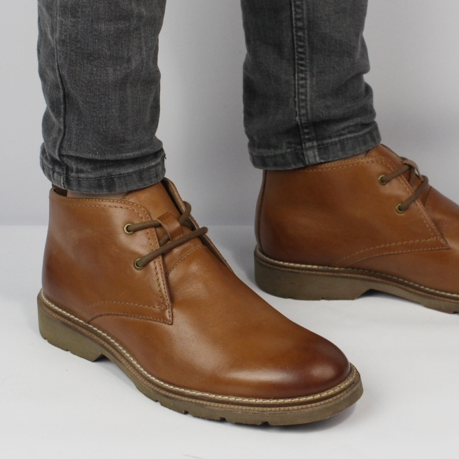 b311a3c3070 STEFAN Mens Leather Lace Up Chukka Boots Tan