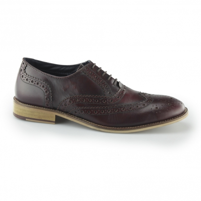 Roamers WINSTON Mens Leather Brogue Oxford Shoes Ox Blood