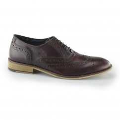 WINSTON Mens Leather Brogue Oxford Shoes Dark Red | Buy At Shuperb