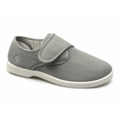 ROB Mens Canvas Wide Touch Fasten Deck Shoes Grey