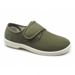 ROB Mens Canvas Wide Touch Fasten Deck Shoes Khaki
