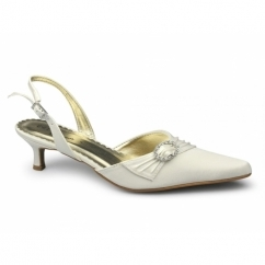 ROBERTA Ladies Satin Diamante Stiletto Shoes Ivory