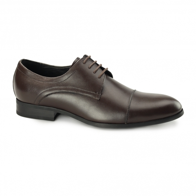 CHARLES Mens Leather Derby Shoes Brown
