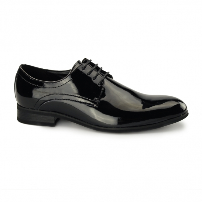 Roberto Giovanni TREVOR Mens Patent Leather Derby Shoes Black