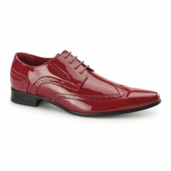 ROBERTO Mens Pointed Patent Shoes Red