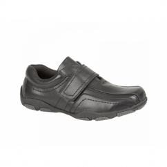 ROCCO Boys Leather Tramline Velcro School Shoes Black