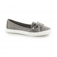 CLARITA - BEACH Ladies Slip On Bow Flat Shoes Grey
