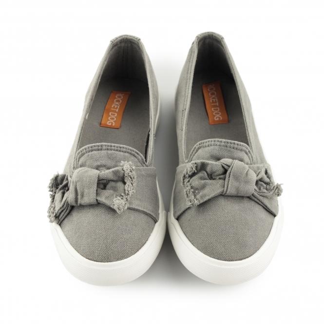 46003333972 CLARITA - BEACH Ladies Slip On Bow Flat Shoes Grey