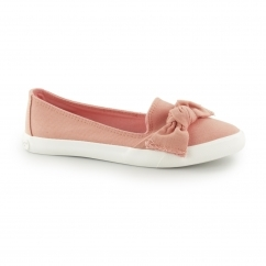 CLARITA-DENIM Ladies Slip On Bow Flat Shoes Peach