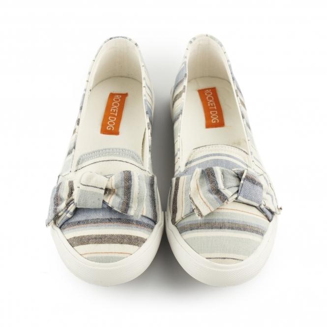 e41a002cae5 CLARITA - PIERCE Ladies Slip On Bow Flat Shoes Blue