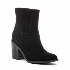 DANNIS Ladies Mid Heel Zip High Ankle Boots Black