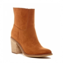DANNIS Ladies Mid Heel Zip High Ankle Boots Cinnamon