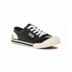 JAZZIN Ladies Lace Up Plimsoll Trainers Black