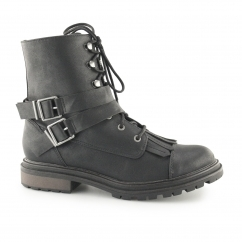 LACIE Ladies Lace Up Combat Boots Black