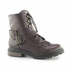 LACIE Ladies Lace Up Combat Boots Burgundy