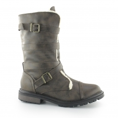 LANCE Ladies Zip Up Biker Boots Brown