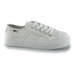 MAGIC Ladies Canvas Lace Up Platform Trainers White