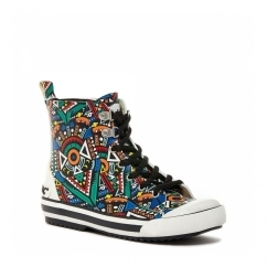 RAINY SPROCKET Ladies Rubber Hi-Top Trainers Black/Multi