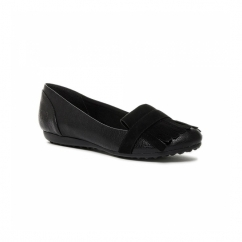 RONNY Ladies Flat Fringe Loafer Pumps Black
