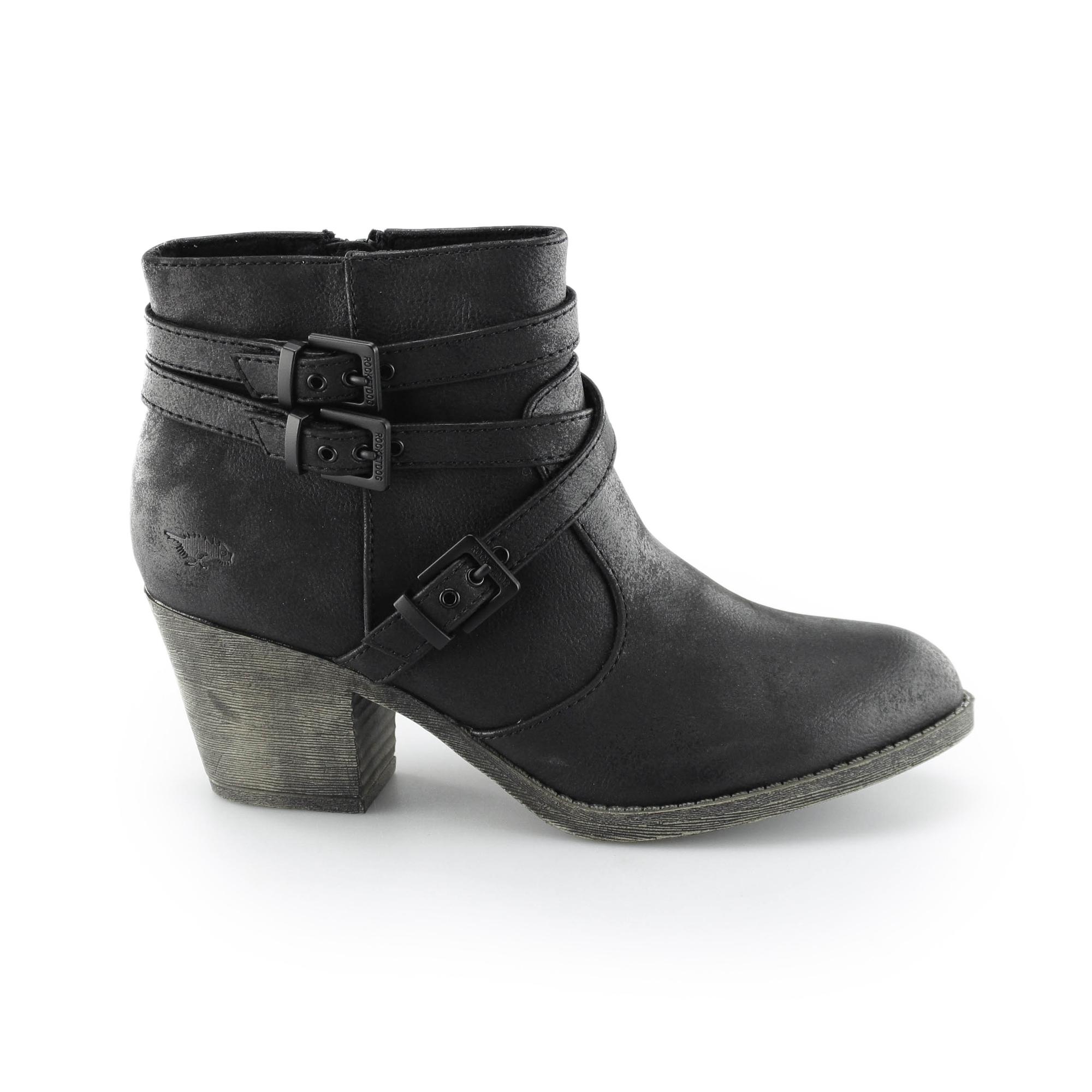 ba14e9652 Rocket Dog SEON Ladies High Block Heel Ankle Boots Black |Shuperb