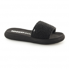 SINGLE Ladies Slip On Beach Sliders Black
