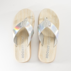 SPOTLIGHT Ladies Metallic Flip Flops Silver