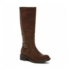 TANKER Ladies Knee High Tall Riding Boots Brown