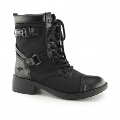 THUNDER Ladies Lace Up Biker Boots Butter/ Black