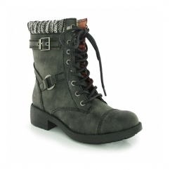 THUNDER Ladies Lace Up Biker High Ankle Boots Black