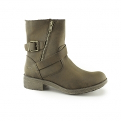 TOUR Ladies Zip Up Biker Boots Brown