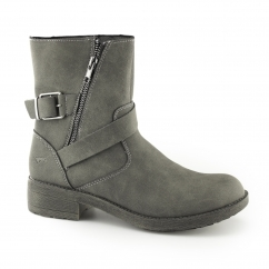 TOUR Ladies Zip Up Biker Boots Charcoal
