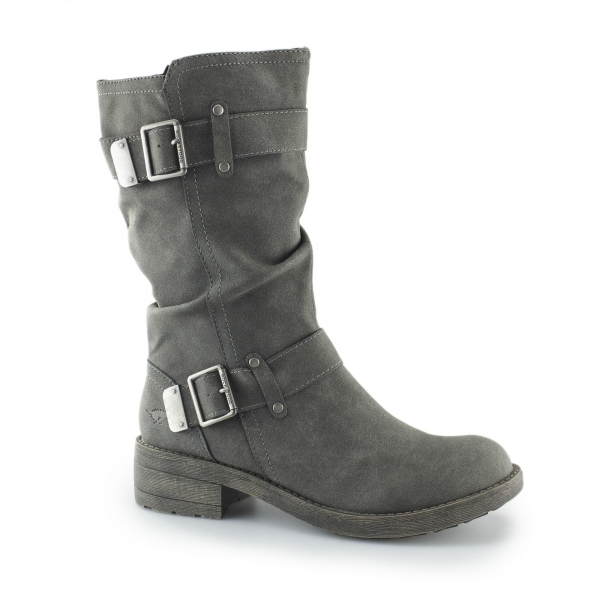 Rocket Dog Trumble Ladies Zip Up Buckle Biker Boots Grey